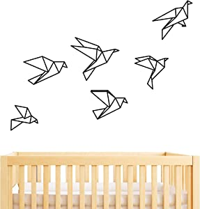 Geometric Origami Birds Wall Decal,Removable Wallpaper, Vinyl Stickers for Office Living Room Home Decor(A14) (Black)