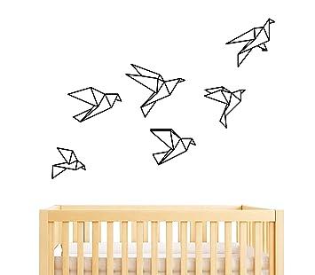Amazon.com: Geométrico Origami pájaros calcomanía decorativo ...