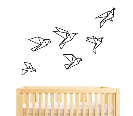 54fb74b52d Image Unavailable. Image not available for. Color: Geometric Origami Birds  Wall Decal ...