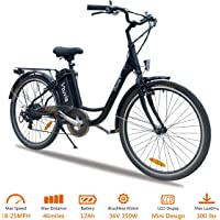 Vtuvia Electric Bike with Waterproof 350W Brushless Motor, Large Capacity 36V 12Ah Removable Samsung Lithium-Ion Battery and Shimano 7-Speed Gear 26 Inch Bicycle City E-Bike for Adults (Men and Women)