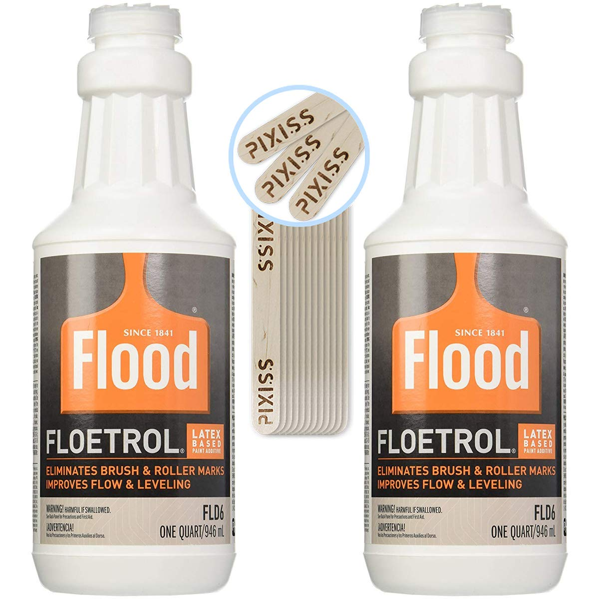 2X 1-Quart Flood Floetrol Additive and 20x 6-inch Pixiss Wood Mixing Sticks Pouring Bundle by GrandProducts