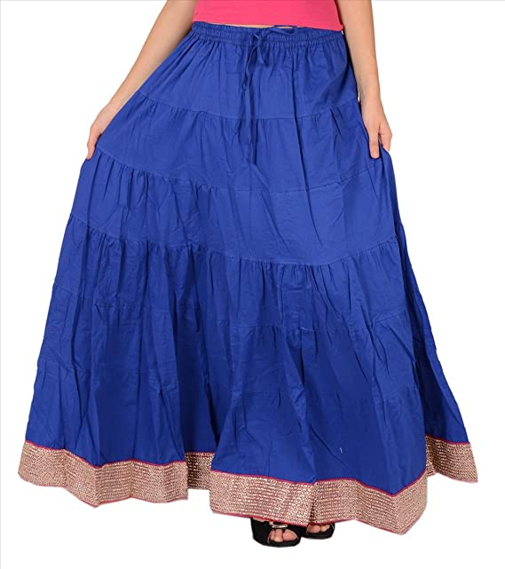 689fb7b7e SnS Long Cotton Skirt with Border for Women: Amazon.in: Clothing &  Accessories