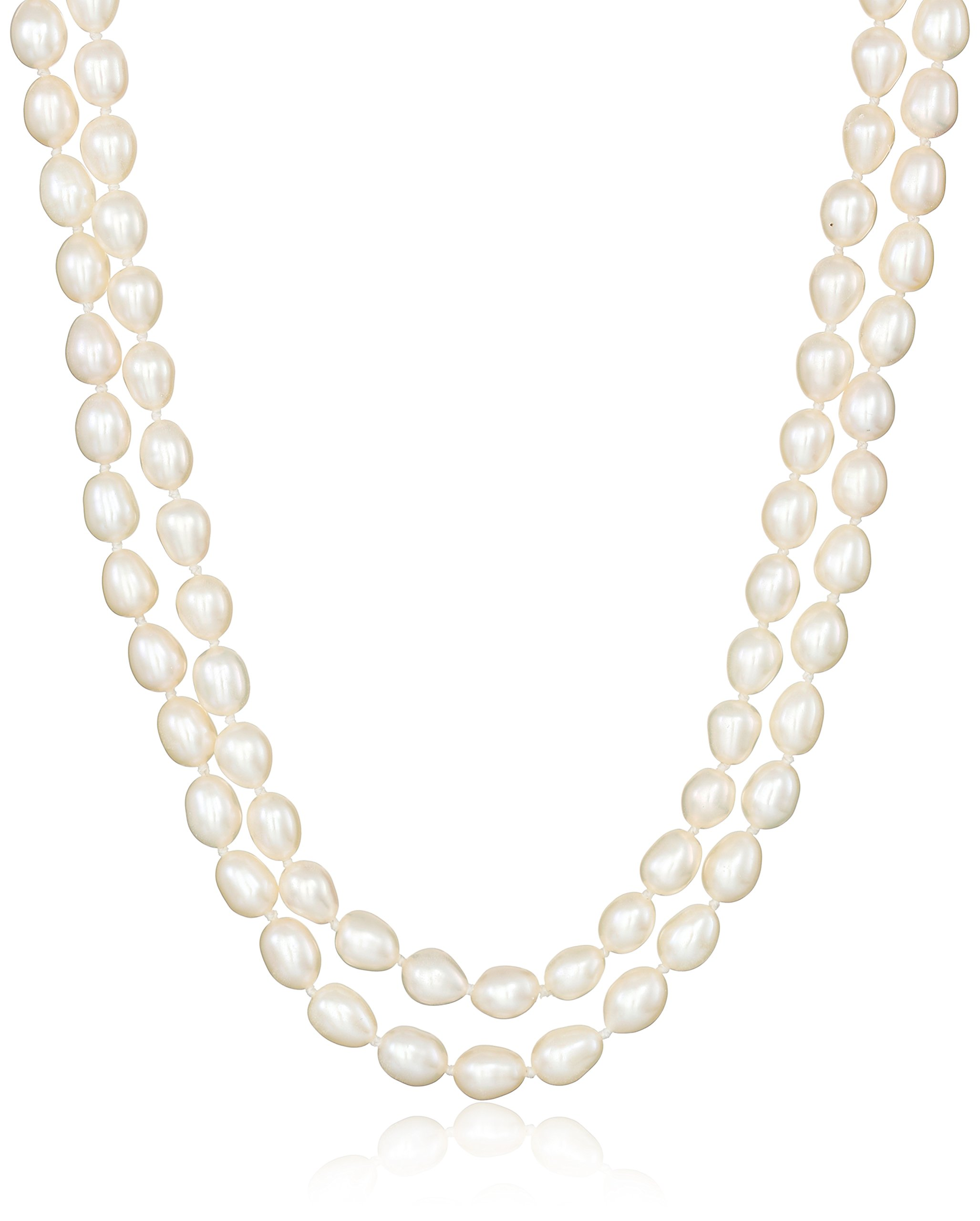 5-6mm White Rice Freshwater Cultured Pearl Endless Necklace 64''