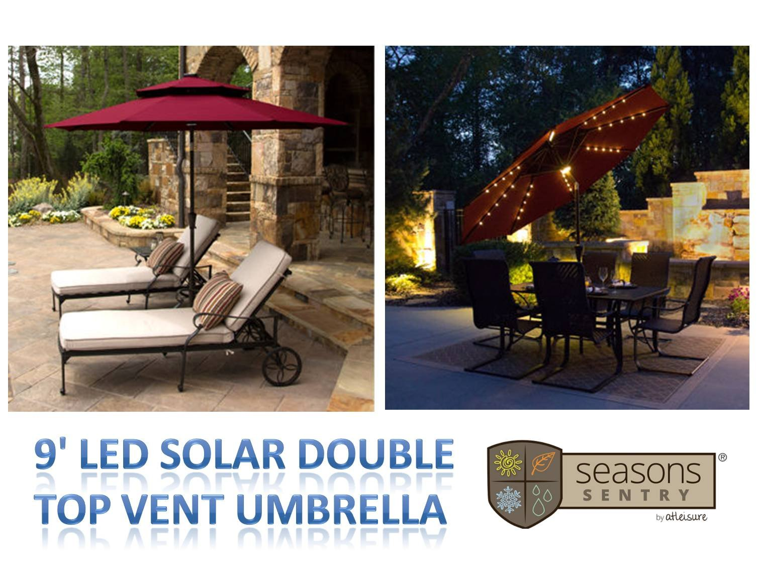 9' LED Solar Market Double-Top Vent Umbrella in BURGUNDY with 52 White LED Lights & Rechargeable Solar Panel by Seasons Sentry