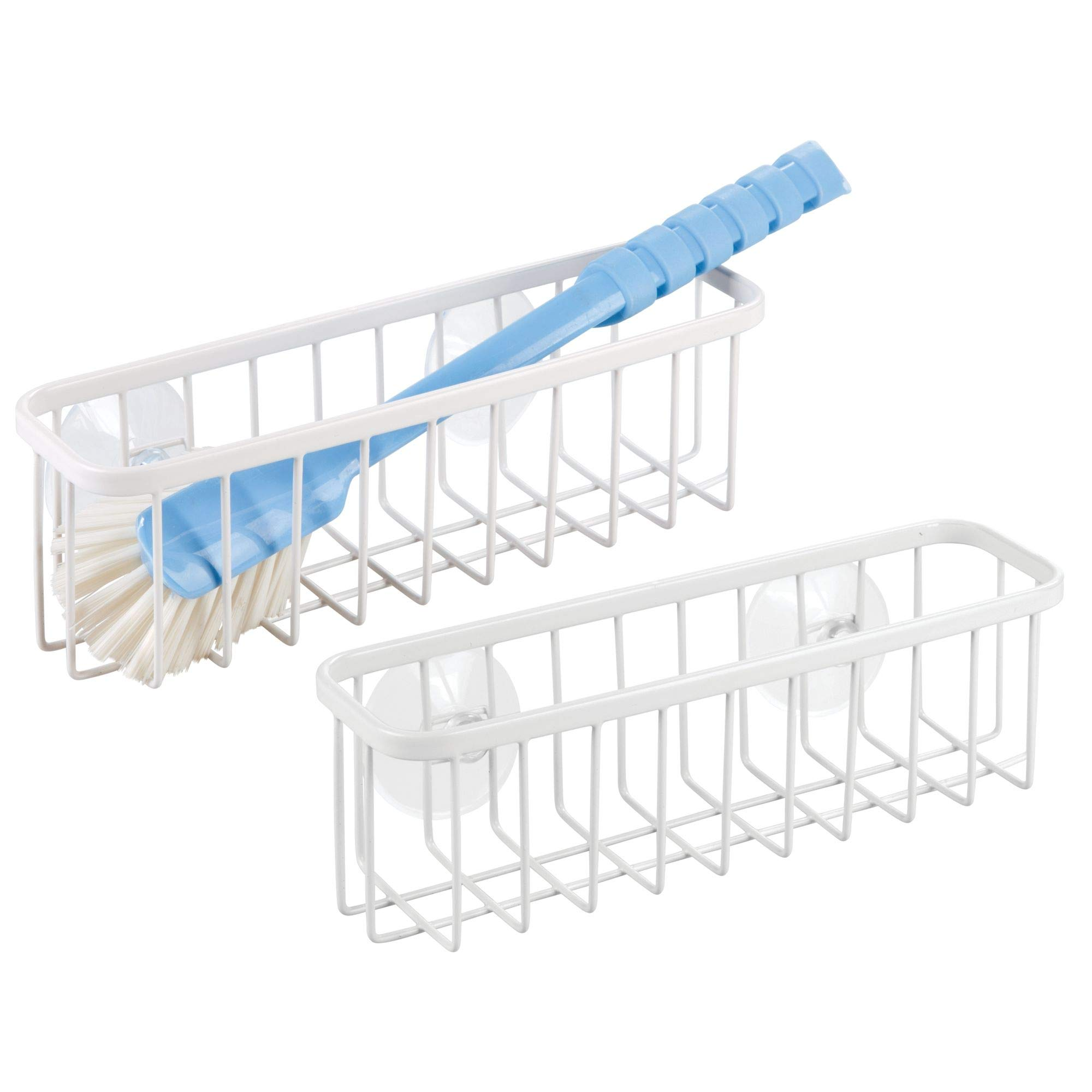 mDesign Kitchen Sink Suction Storage Basket for Sponges, Soap, Scrub Brushes,Scrubbies - Pack of 2, XL, Matte White