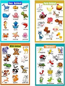 4 Pieces Laminated Educational Preschool Posters for Toddlers| Educational Wall Charts | School classroom Posters | Class decorations for Kindergarten- Sea Animal,Farm Animal,Wild Animal, Insect.