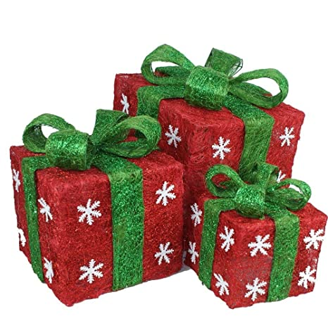 momokopeng battery operated indoor decoration hand made sparking led 3 in 1 lighted burlap boxes - Battery Operated Christmas Yard Decorations