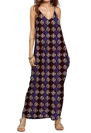 b44cf3b72bd7 Jusfitsu Damen V-Ausschnitt Träger Sommerkleid Lang Beach Kleider  Partykleid Maxikleid Strandkleid Modell 4 Asien L  Amazon.de  Bekleidung