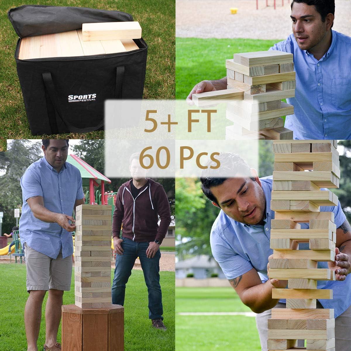60Pcs Large Wooden Blocks for Adults with Storage Bag Stacks to 5+ Feet LOKATSE HOME Jumbo Giant Jenga Yard Games Tumble Tower Outdoor Toys