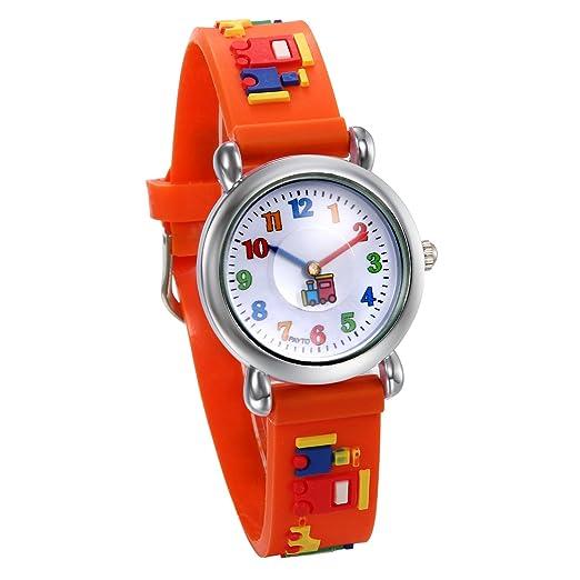 JewelryWe Relojes de Niños Niñas Reloj Deportivo Digital Analogico, Naranja Correa de Silicona con Dibujos Animados Simpaticos Relojes de Infantil, ...