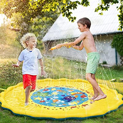 "68"" Inflatable Splash Sprinkler Pad for Kids Toddlers Dogs, Kiddie Baby Pool, Outdoor Water Mat Toys - Baby Infant Wading Swimming Pool - Fun Backyard Fountain Play Mat for 1 -12 Year Old Girls Boys: Toys & Games"