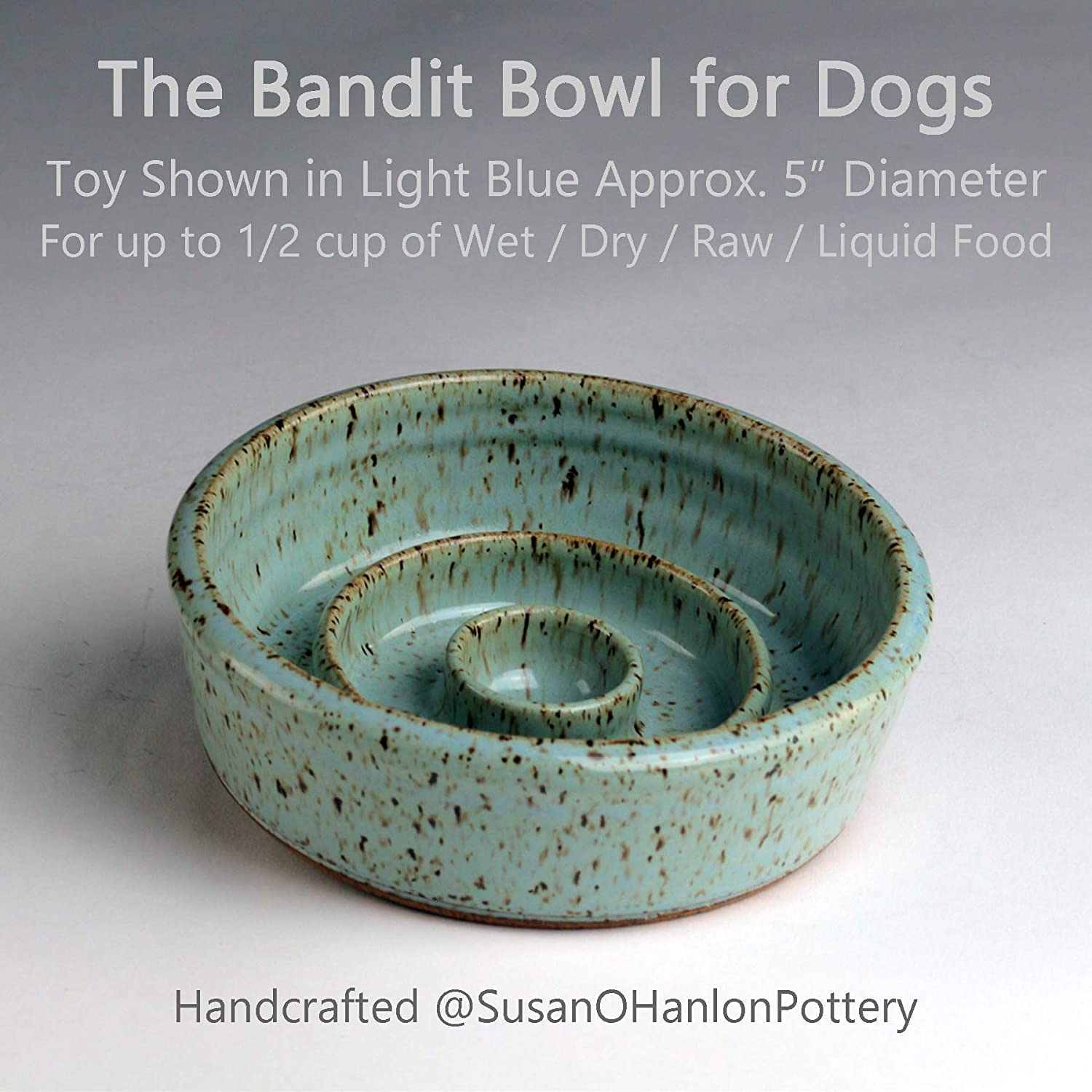 Ceramic Stoneware Handmade in the USA Bandit Bowl Slow Feeder Dog Bowl TOY in BLACK