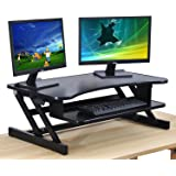 The House of Trade Standing Desk Height Adjustable Sit to Stand Up Desk Riser | 32in. Wide Fits Dual Monitors