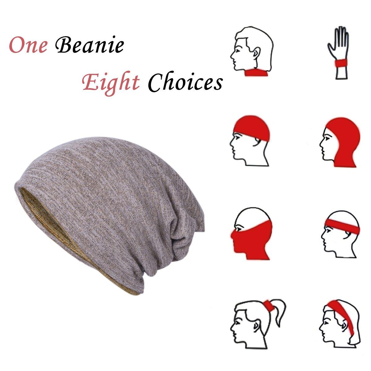 EVRFELAN Winter Warm Hat Soft Slouchy Beanie Ski Baggy Hat Head Wrap Skullcap for Women Men (Yellow)