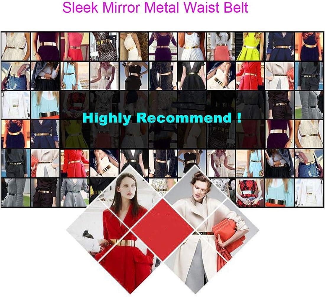 Cintura donna metallo specchio Cintura sottile regolabile Cintura con cintura in vita per vestito