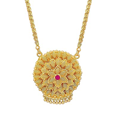 Buy AFJ GOLD One Gram Micro Gold Plated Traditional Designer Daily Wear  Pink Diamond Flower Dollar Chain for Women and Girls (24 inch) Online at  Low Prices ... 5f0eb783bd