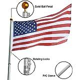 Koval Inc. 25 ft Aluminum Telescoping Flagpole Kit with US Flag (25FT Telescopic Flag Pole)