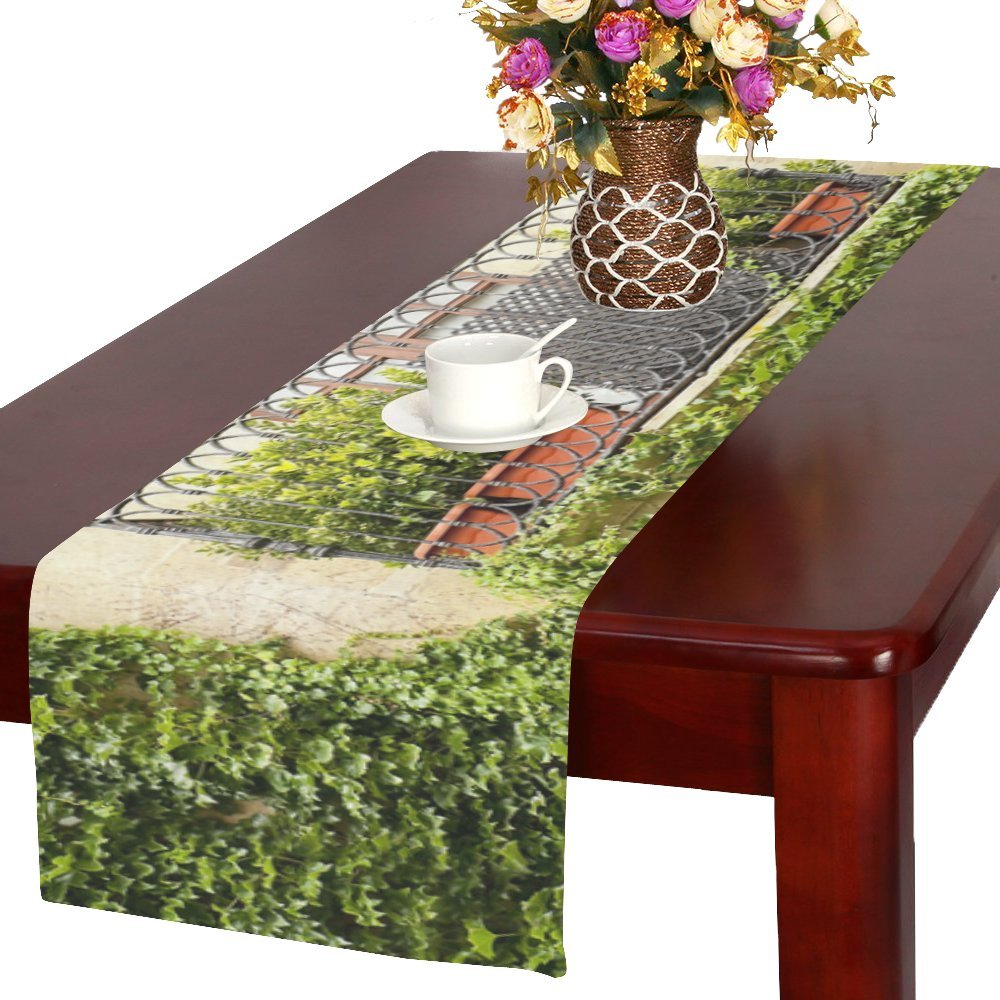 Happy More Custom Beautiful Window Durable Cotton Linen Table Runner 16'' x 72''