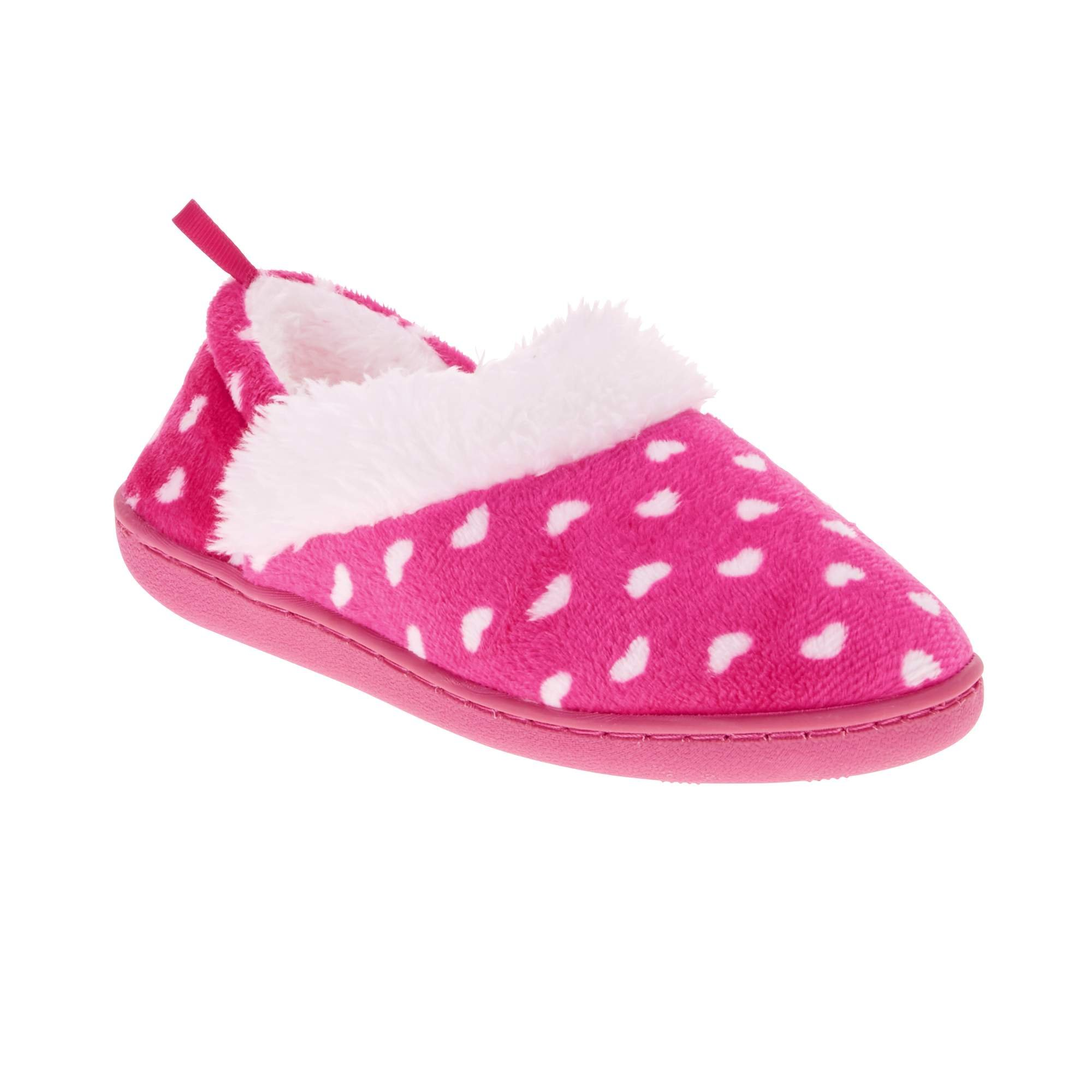 WMS Hearts All Over Pink Faux Fur Slippers Size Medium 7-8