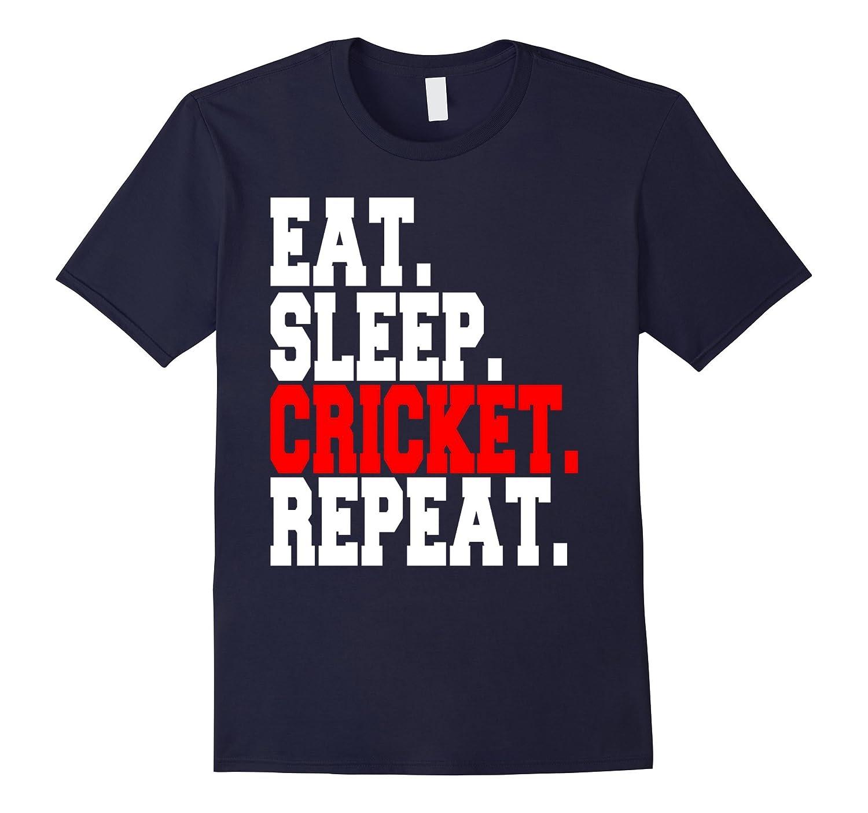 Eat Sleep Cricket Repeat Funny T-shirt-FL