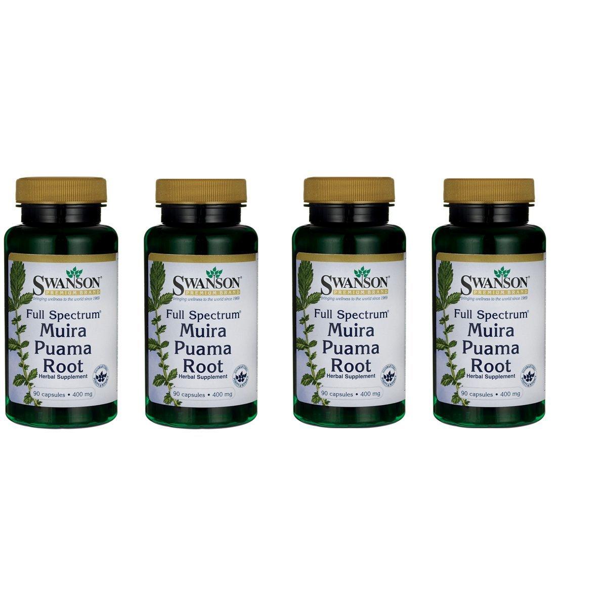Swanson Muira Puama Root Sexual Health Virility Libido Boost Support Men's Women's Supplement 400 mg 90 Capsules (4 Pack)