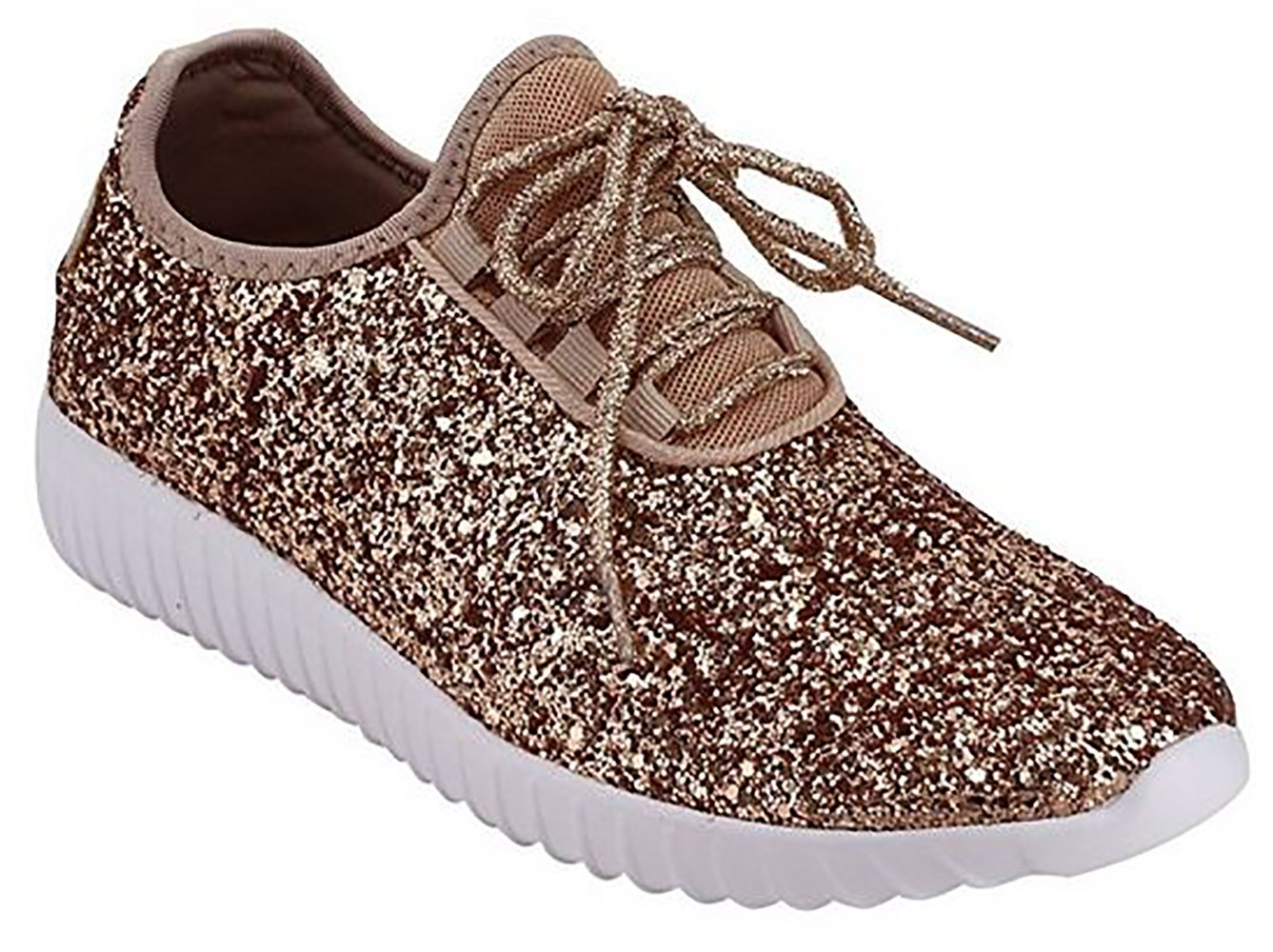 MVE Shoes Women's Glitter Sneakers | Fashion Sneakers | Sparkly Shoes for Women remy 19 Rose Gold 10