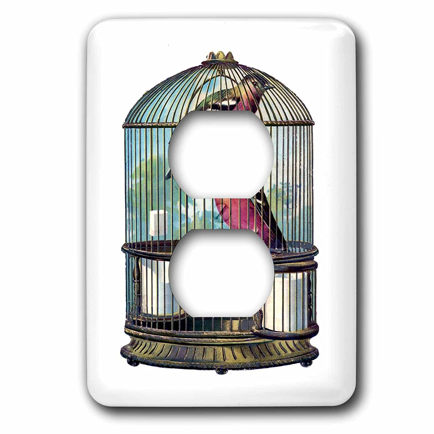 3dRose lsp/_61863/_6 Victorian Cage with 2 Colorful Birds Plug Outlet Cover