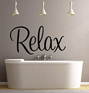 Best Design Amazing Relax Wall Decal Quote-Bathroom Wall Decal-Removable Wall Decal-Wall Decor-Wall Art-Wall Decal-Salon Wall Decor-Salon Decor-Bathroom Decor Made in USA!