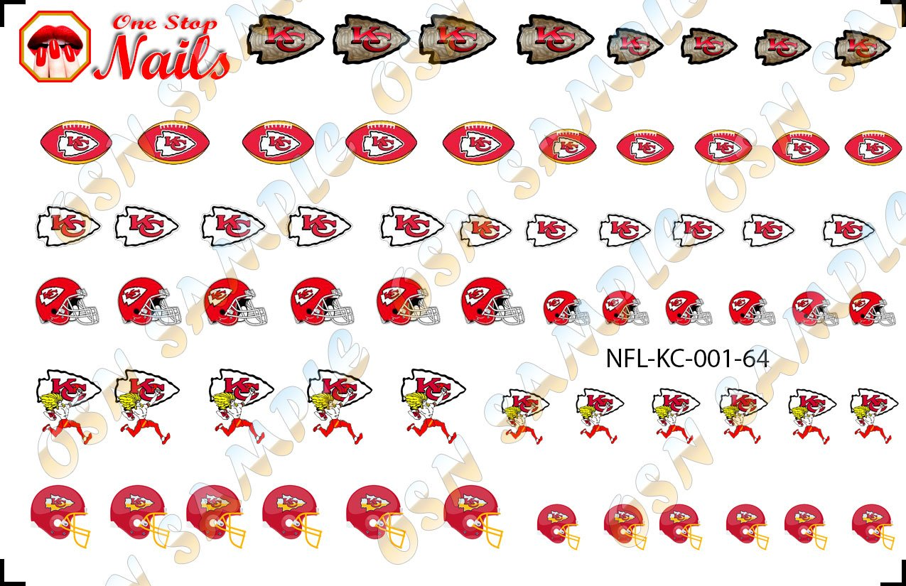 Amazon.com: Kansas City Chiefs Waterslide Nail Decals V1 (Set of 64 ...