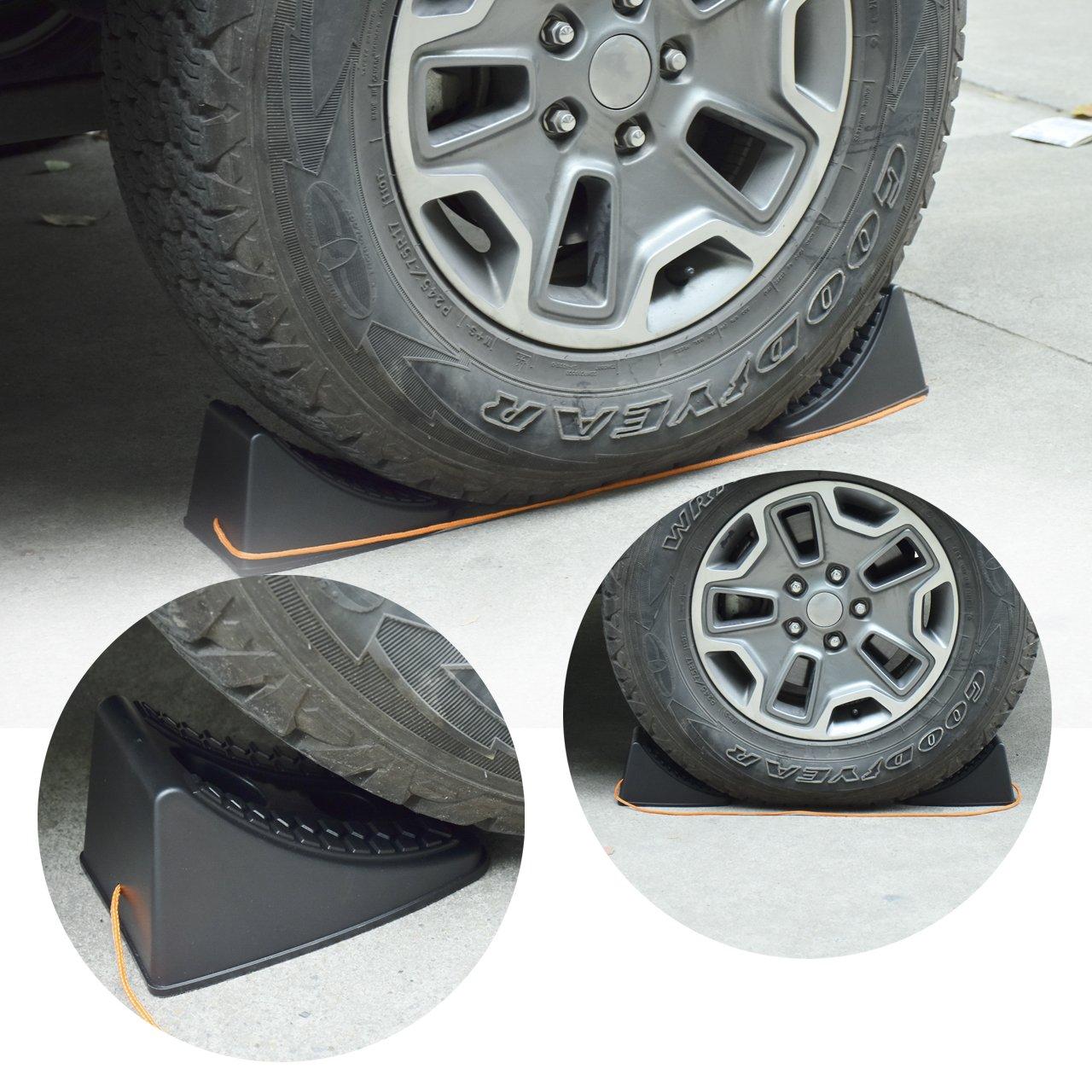 DEDC Heavy Duty Wheel Chocks for Caravan Car Wheel Stoppers Tire Chocks 4 Pack, RV Trailer ATV Truck Tire Wheel Blocks by DEDC (Image #4)