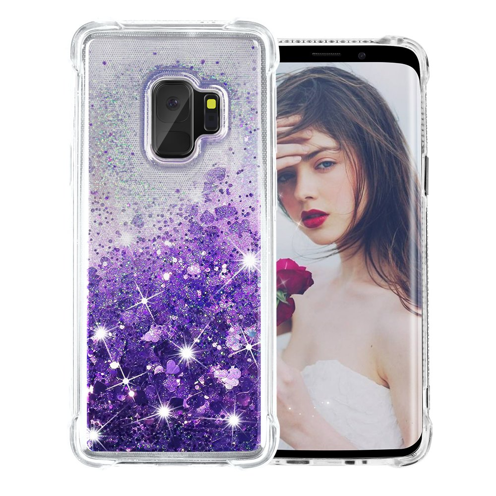 Galaxy S9 Case, SUPVIN Liquid Glitter Cover for Girls Clear Fashion Rhinestone Flowing Sparkle Glitter Floating [TPU+PC] 4 Corners Bumper Protective Phone Cover for Samsung Galaxy S9 (Heart-Purple) by SUPVIN (Image #1)