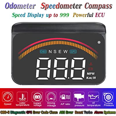 "3.5"" Upgrade Heads Up Display Car HUD Display OBD2 GPS Dual Mode Speedometer Odometer Diagnostic Cleaner Display Altitude Flux Data Clock Alarm Overspeed Temperature Compatible for All Vehicles: Automotive"