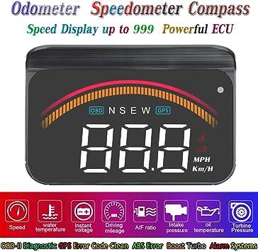 3,5 Upgrade HUD OBD2 GPS Tacho Kilometerz/ähler Kompass Kilometerstand Diagnose Reiniger Display H/öhe Flussdaten Wecker /Überdrehzahl Temperatur Druck Turbine 2 Systeme Kompatibel f/ür Alle Fahrzeuge