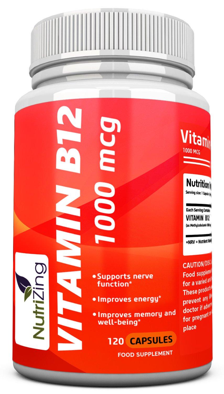 NutriZing cápsulas de vitamina B12~1000mcg ~ 100% suplementos vegetarianos: Amazon.es: Salud y cuidado personal