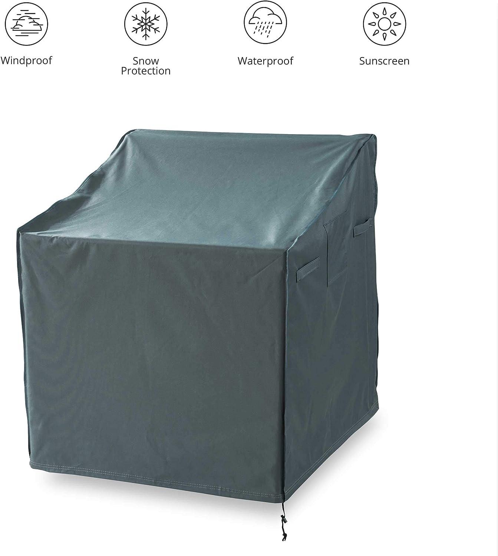 Lumaland Cubierta Lona Protectora Impermeable para Muebles de jardín Cojín Silla Alta para jardín 119 (Alto) x 85 (Largo) x 65(Ancho) x 80 (Profundidad) cm Verde/Gris Oxford 600D 280 g/m²