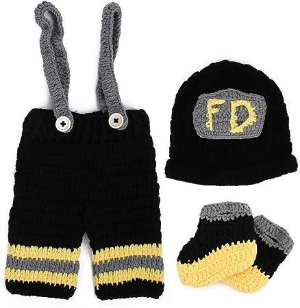 accesorio de abrigo de fotograf/ía suave traje de beb/é pantalones Accesorios de fotograf/ía de beb/é reci/én nacido sombreros de bombero de punto de ganchillo