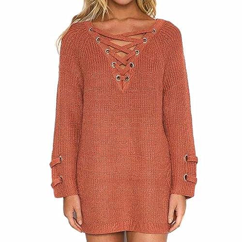 QIYUN.ZA Medio-Largo Del Cordón V Suéter De Cuello Del Suéter De Las Mujeres Bagy