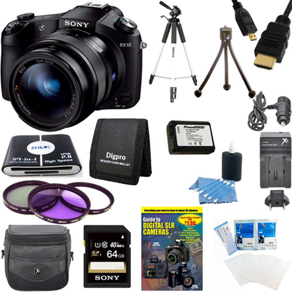 Sony DSCRX10 RX10 RX10/B DSCRX10B RX10B Cybershot 20.2 MP Digital Still Camera w/ 3-Inch LCD Screen Bundle - Includes camera, 64 GB Memory Card, 59'' Tripod, Camera Battery, 62mm Filter Kit, & MORE by Beach Camera