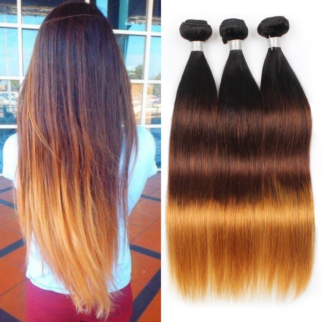 Amazon Com Allove Hair 8a Brazilian Ombre Straight Hair Bundles 1
