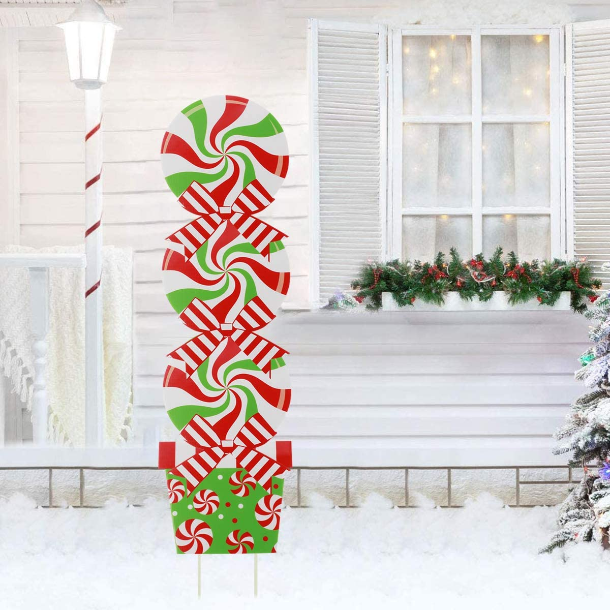 GoGreen Sprouter Candy Christmas Decorations Outdoor - Giant Holiday Decor Signs for Home Lawn Pathway Walkway Candyland Themed Party - 42 Inch Peppermint Xmas Yard Sign Stakes