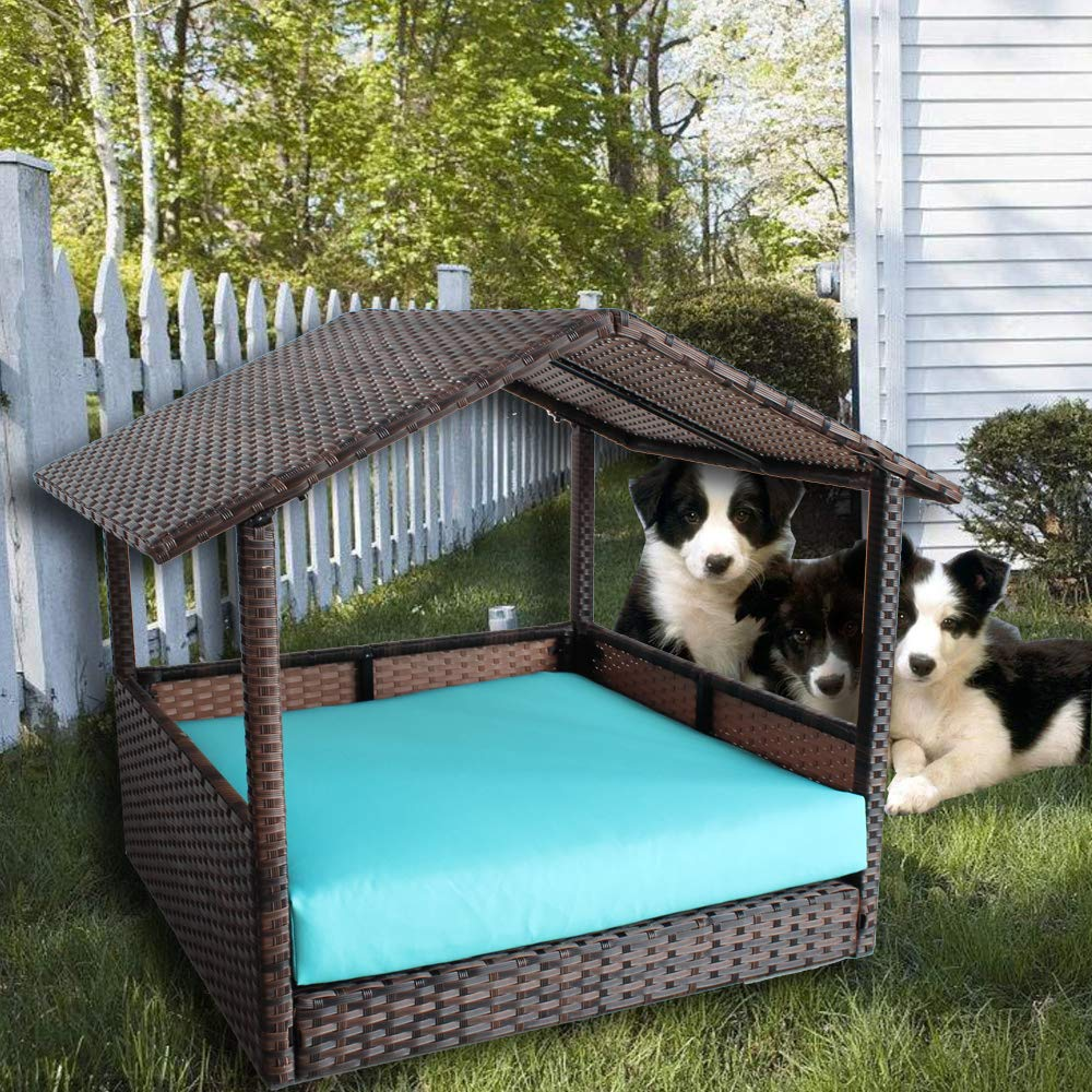LEAPTIME Outdoor Pet House PE Brown Rattan Playpen Indoor Patio Wicker Dogs Cats Rabits Play House Garden Cushion-Turquoise