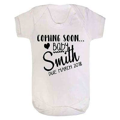 1personnalisé Flexible bébé Nom et raison mois Body pour bébé bébé Reveal Grossesse Annoucment Blanc 0–3mois