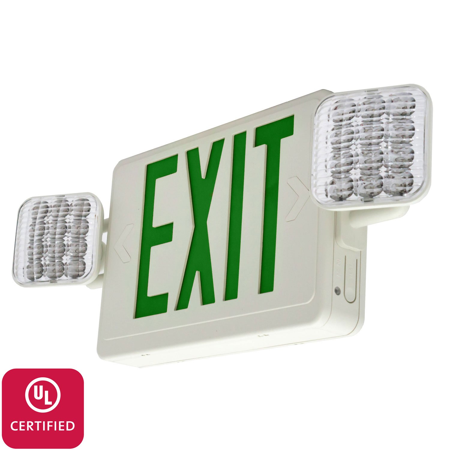 LFI Lights - UL Certified - Hardwired Green LED Combo Exit Sign Emergency Light - Square Head - COMBOG2