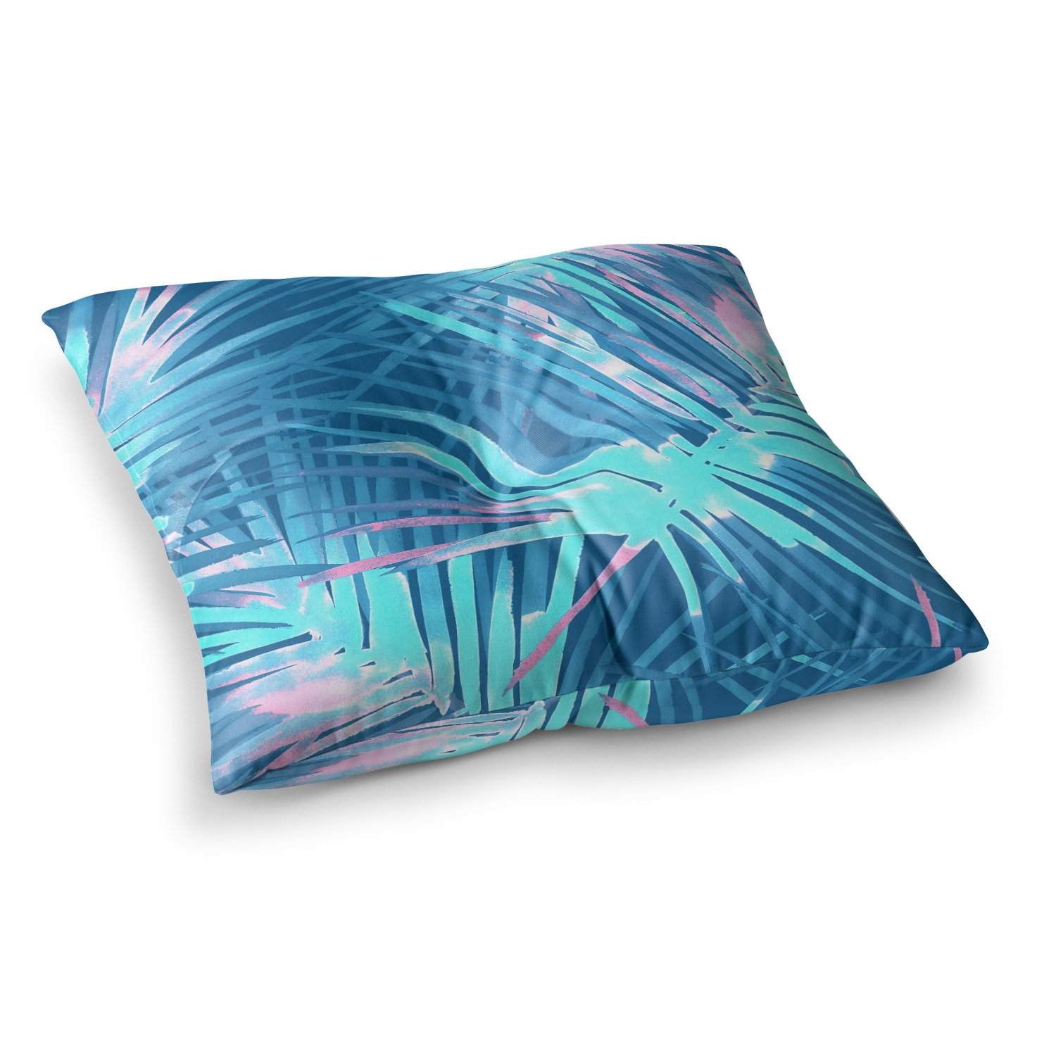Kess InHouse Danii Pollehn Neon Tropical Blue Pink Illustration 23 x 23 Square Floor Pillow