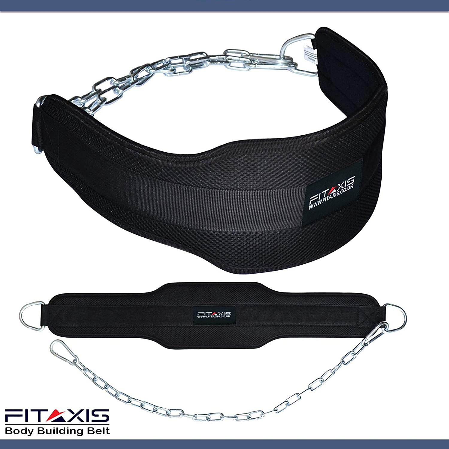 """Weighted Parallel Dips Double Padded Platform Squats FITAXIS Dipping Belt for Weight Lifting Body Building Adjustable Steel Chain Original Neoprene 7/"""" Wide 10 mm Thick Support for Chin Pull Ups"""
