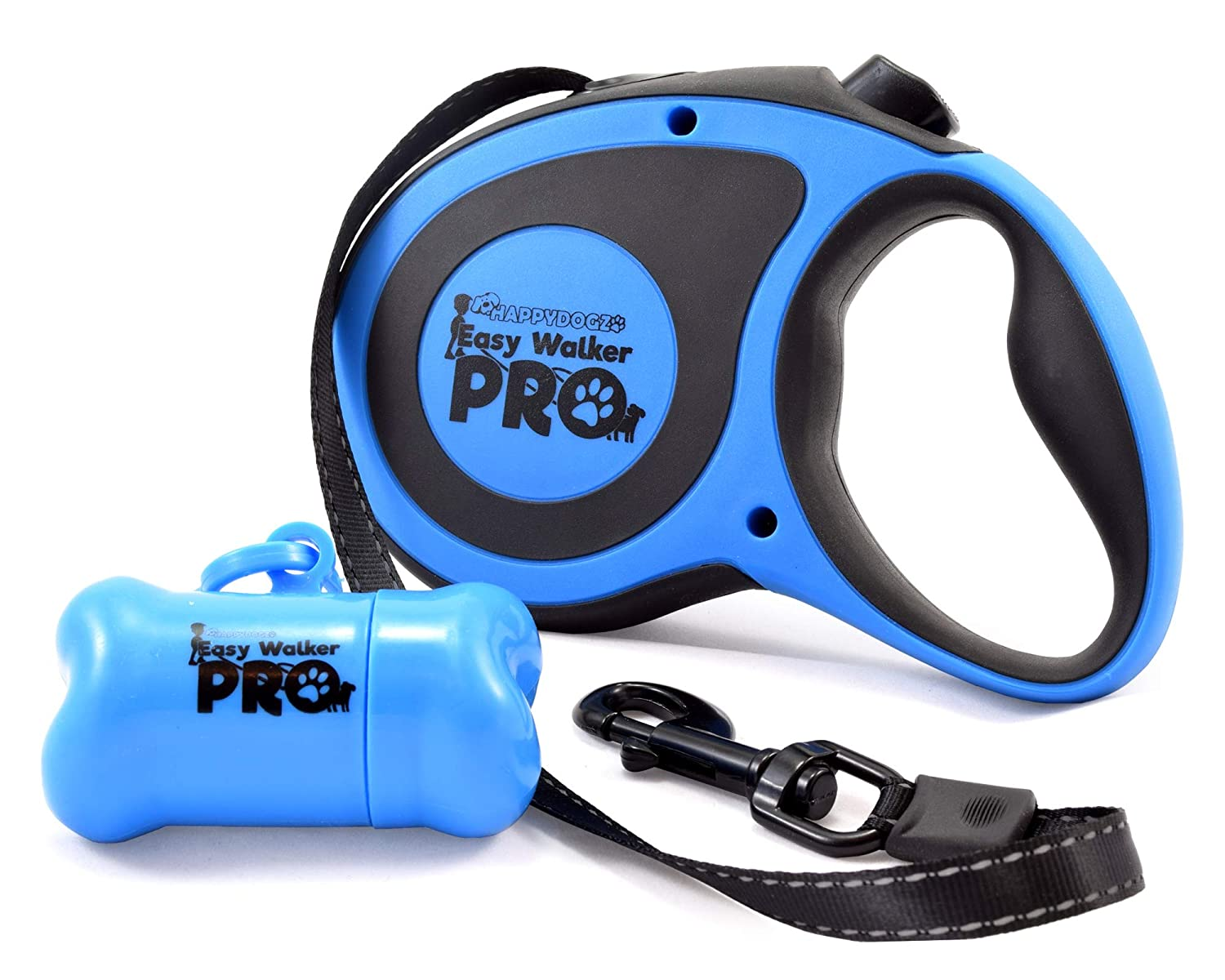 bluee Large bluee Large HappyDogz Easy Walker Pro Retractable Dog Leash with Improved Retracting Mechanism Features a Bigger Ergonomic Handle with a Poop Bag Container Attachment and a Strong Nylon Reflective Tape