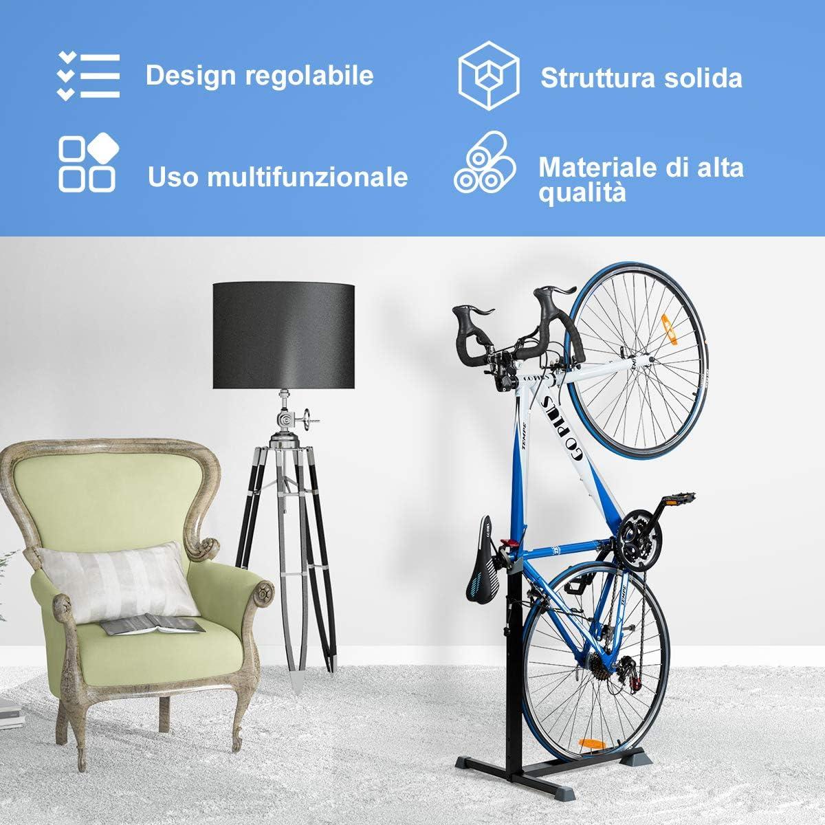 per Riparare Le Biciclette per Salone e Garage in Acciaio al Carbonio Nero Supporto da Interno salvaspazio Costway Supporto Verticale per Biciclette Altezza Regolabile