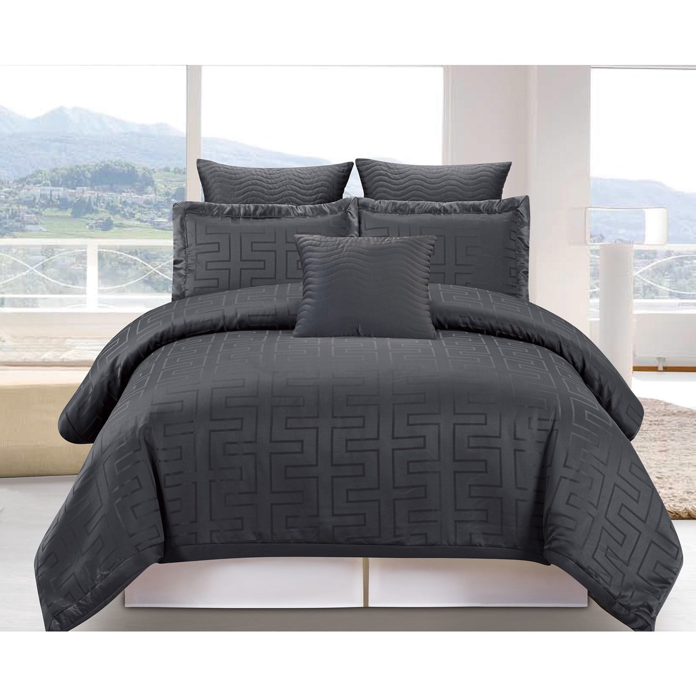 Duck River Textile -  Schillman Hotel Quality Luxury Comforter Duvet Insert Cover Hypoallergenic | 6 Piece Set | Geometric Collection, | Queen Size | Grey