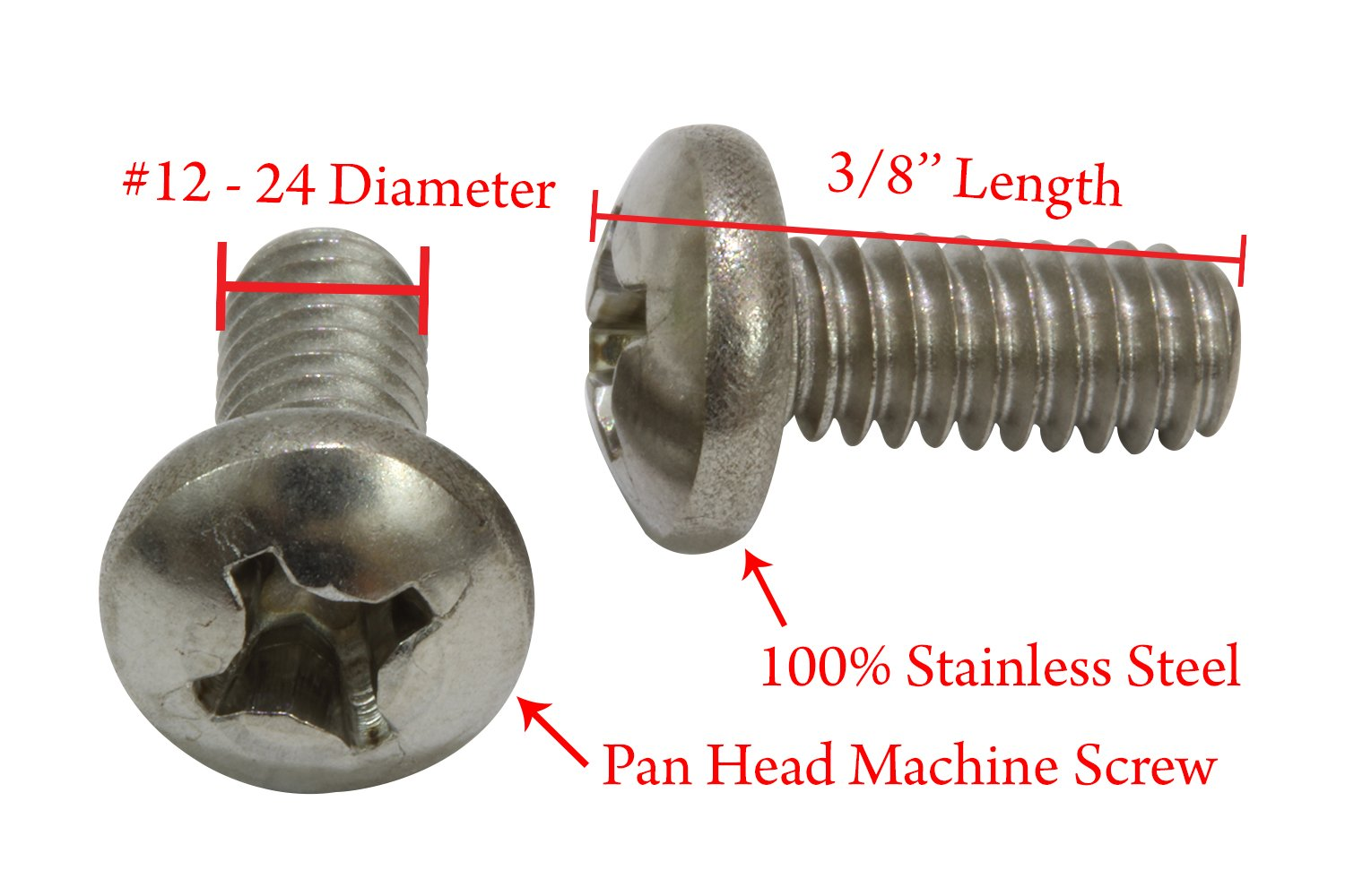 18-8 100 pc 304 Stainless Steel Screw by Bolt Dropper #10-24 X 3//8 Stainless Pan Head Phillips Machine Screw,