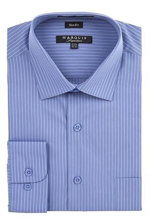 d9c9809c0e78 Marquis Men's Pin Striped Slim Fit Dress Shirt at Amazon Men's Clothing  store: